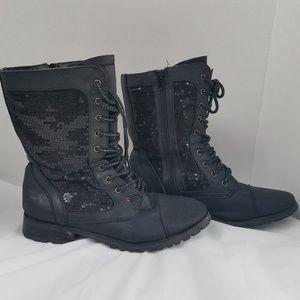 GIA MIA Black Sequined Combat Boots